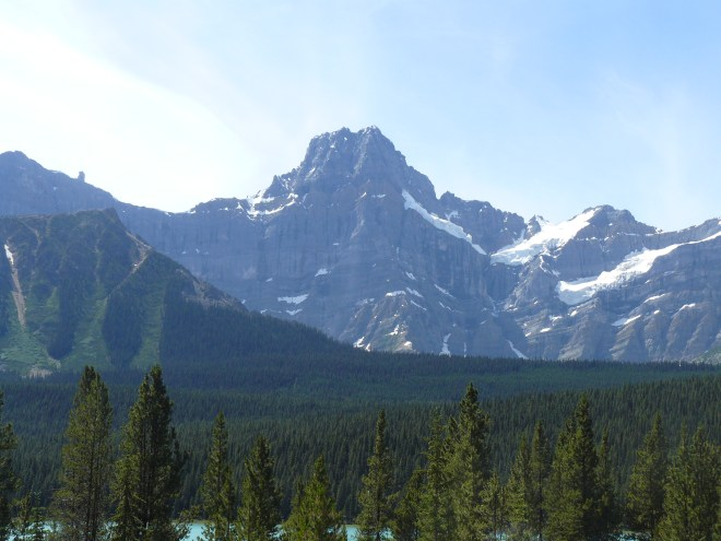 Howse Peak (10,810 ft.) from the Icefields Parkway near the southernmost of the two large Waterfowl Lakes.