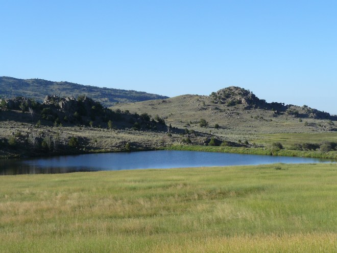 There were a couple of nice ponds like this one as Lupe neared the edge of the Laramie Mountains.