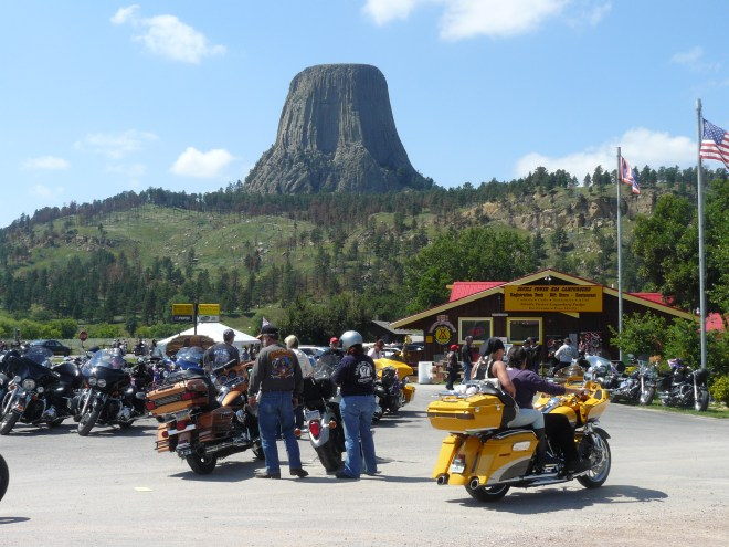 SPHP had planned on getting Lupe a little blue ice cream at the store E of Devil's Tower National Monument. All the parking lots at the KOA campground were totally jammed with motorcycle enthusiasts here for the annual Sturgis Rally, held the 1st full week of August each year. SPHP decided Lupe would have to wait for ice cream.