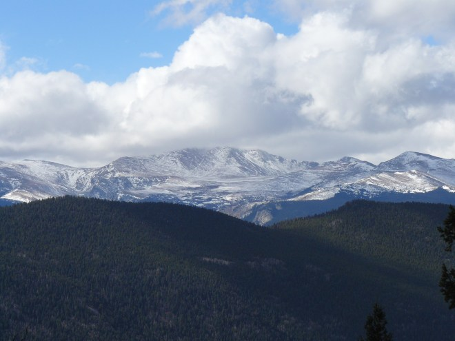 The grandest view from Bergen Peak was to the W. SPHP believes this may be Mount Evans.