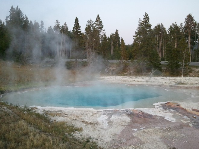 Some pretty pools of water steam endlessly away, seldom or never erupting.