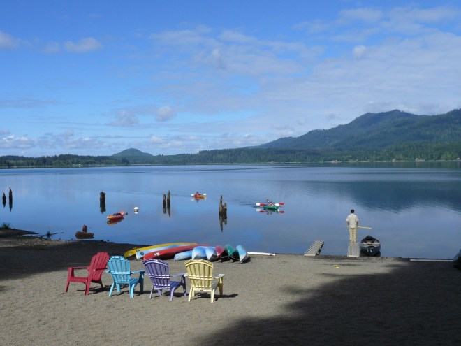 Kayakers on Lake Quinault.