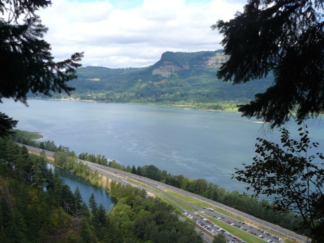 Looking W down the Columbia River Gorge from the viewing platform at the top of Multnomah Falls.
