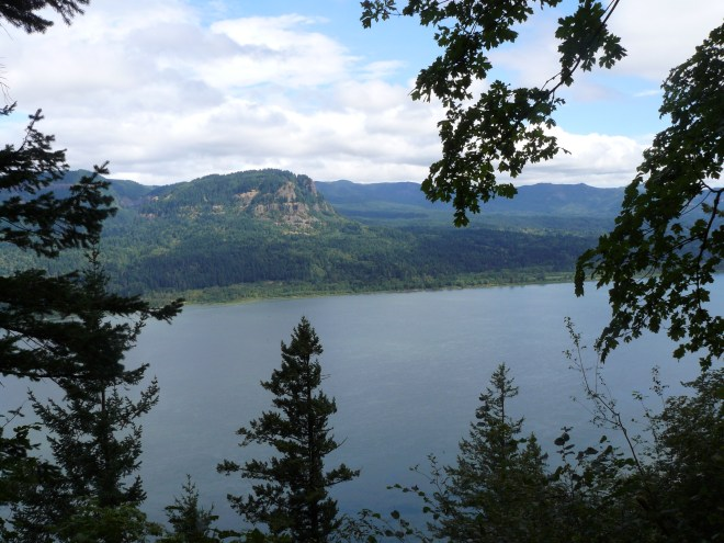Looking N across the Columbia River from the trail to the top of Multnomah Falls.