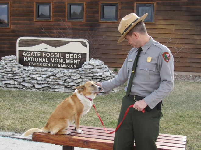Lupe get some love from Ranger Steven Lawlor of the National Park Service.