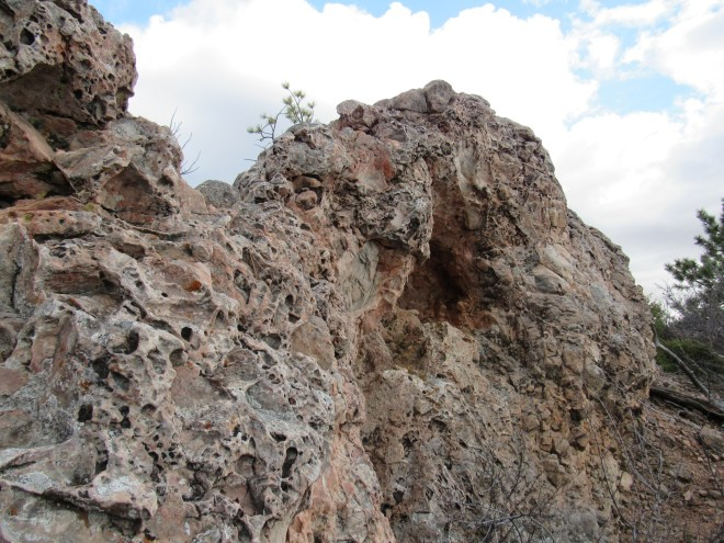 A closer look at the interesting pink-gray rocks forming the summit. Photo looks ESE.