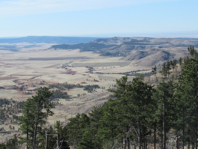 Looking SSE from Wildcat Peak. Sullivan Peak is the highest of the most distant of the barren ridges located just R of Center. Red Point is the small forested hill at Center seen right below a barren ridge coming down to the L from Sullivan Peak. Twin Buttes are the two most distant barren ridges visible near the R side of the photo. Lupe had visited all 3 of these mountains only 11 days ago on Black Hills, SD Expedition No. 166.