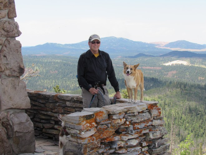 "AA0Q was the first to ever use Lupe's ""Radio-Active"" American Dingo guide services to a Black Hills peak for a Summits on the Air purpose. Joe earned 8 points toward SOTA's Mountain Goat designation for ""activating"" Custer Peak (6,804 ft.)! Photo looks NW toward Terry Peak."