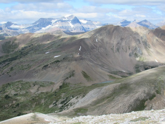 Looking down on Harvey Pass (where the light blue pond is) from Mt. Bourgeau. SPHP believes the high point on the horizon L of Center may be Mount Ball (10,807 ft.). Photo looks WNW.