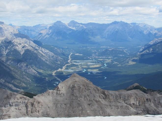 Looking ENE at Banff and the Bow River Valley.