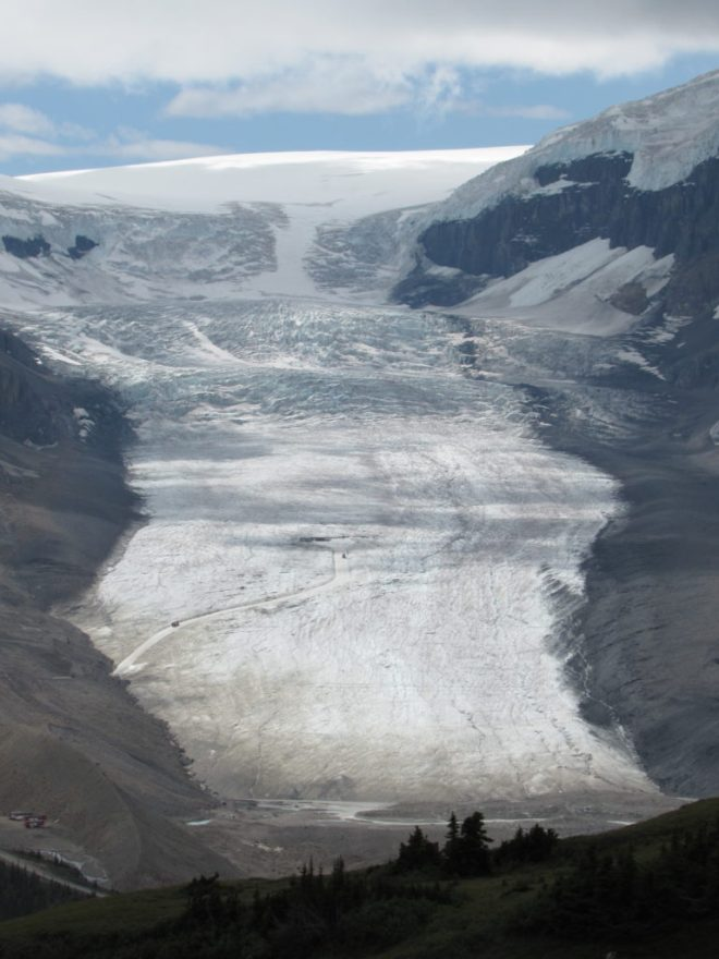The Athabasca Glacier. From Lupe's high vantage point, part of the Columbia snowfield which feeds the glacier is in view. Photo looks SW.