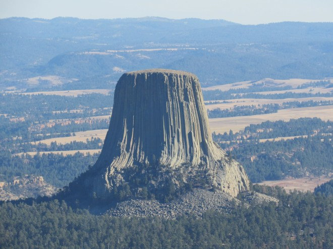 Devil's Tower in the afternoon sun from NE Missouri Butte. Photo looks SE using the telephoto lens.