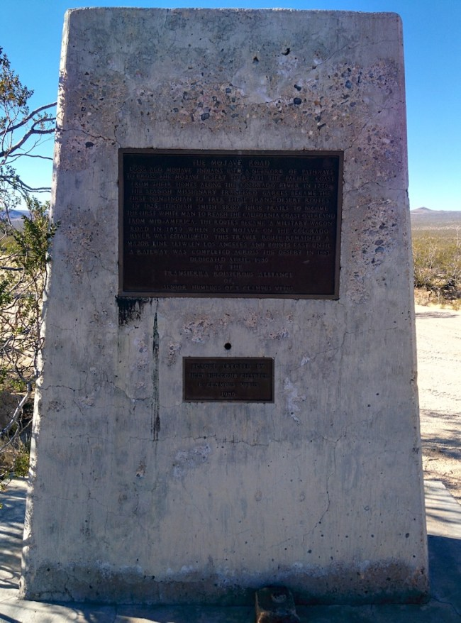 Roadside marker for The Mojave Road