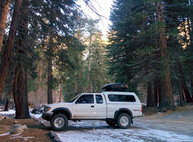 My Tacoma looking all magnificent and shit parked at the Whitney Portal in the snow.