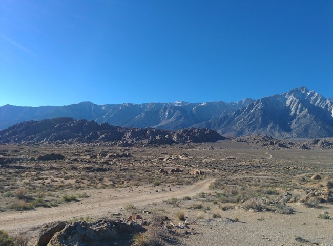 picture of Alabama Hills with Mt. Whitney range behind