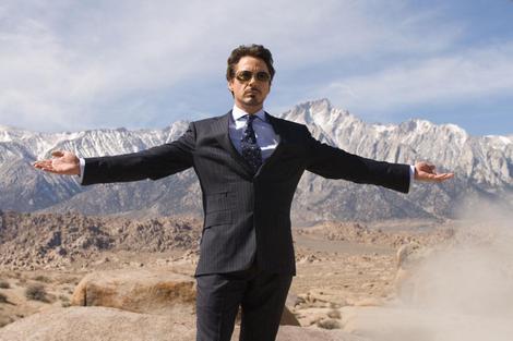 Robert Downey Jr. as Tony Stark in the scene from Iron Man filmed in the Alabama Hills