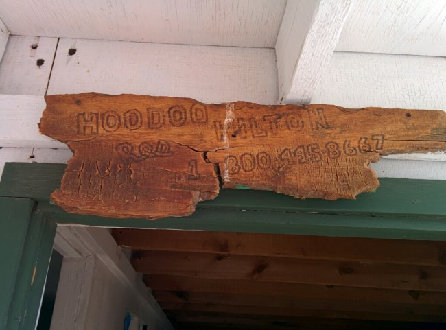 Wooden plaque above the Front Door