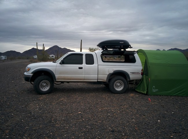"""Green My new """"Quonset hut""""-style tent set up at the rear of the Tacoma"""