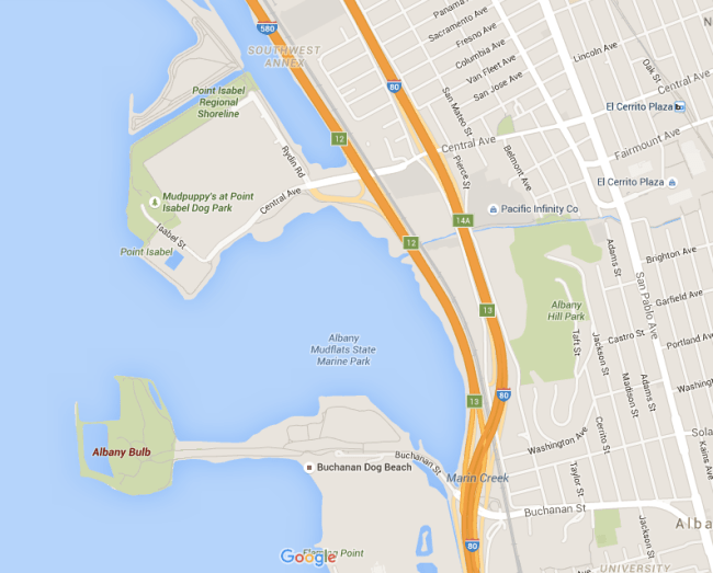 Map of SF East Bay Area showing Albany Bulb and Pt. Isabel