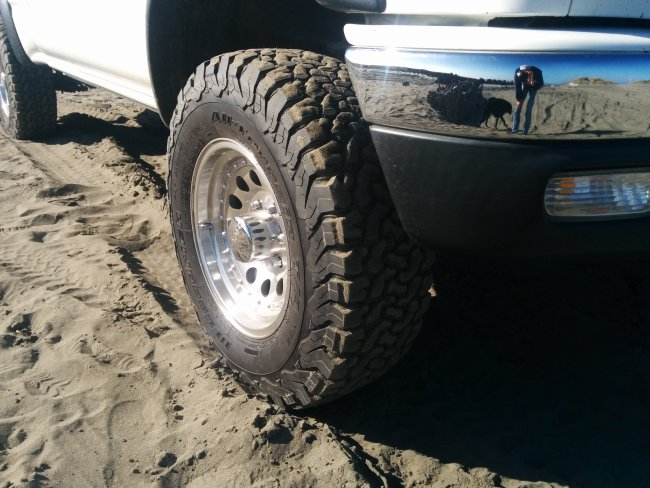 close-up of my tires at the beach