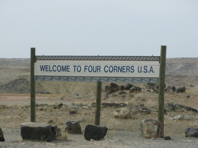 sign welcoming visitors to the Four Corners Area