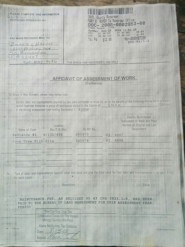 document stating that Emmett Harder had been inspected and found to have made mining improvements and actively using the site and paid his taxes on it dated 2008