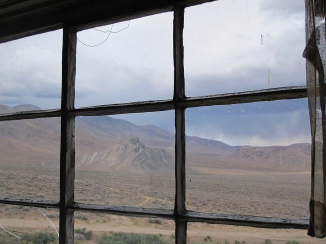 Striped Butte through the Cabin Window