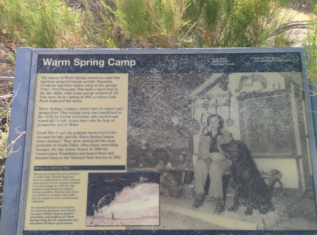 NPS Information Sign For Warm Spring Camp