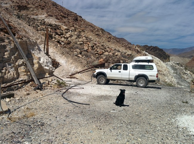 Tacoma parked and Willow Sitting in front of Talc Mine Entrance Above Warm Spring Canyon Road