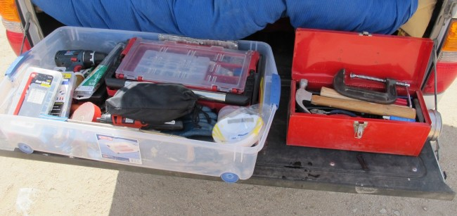 the two tool boxes full of tools we always carry with us