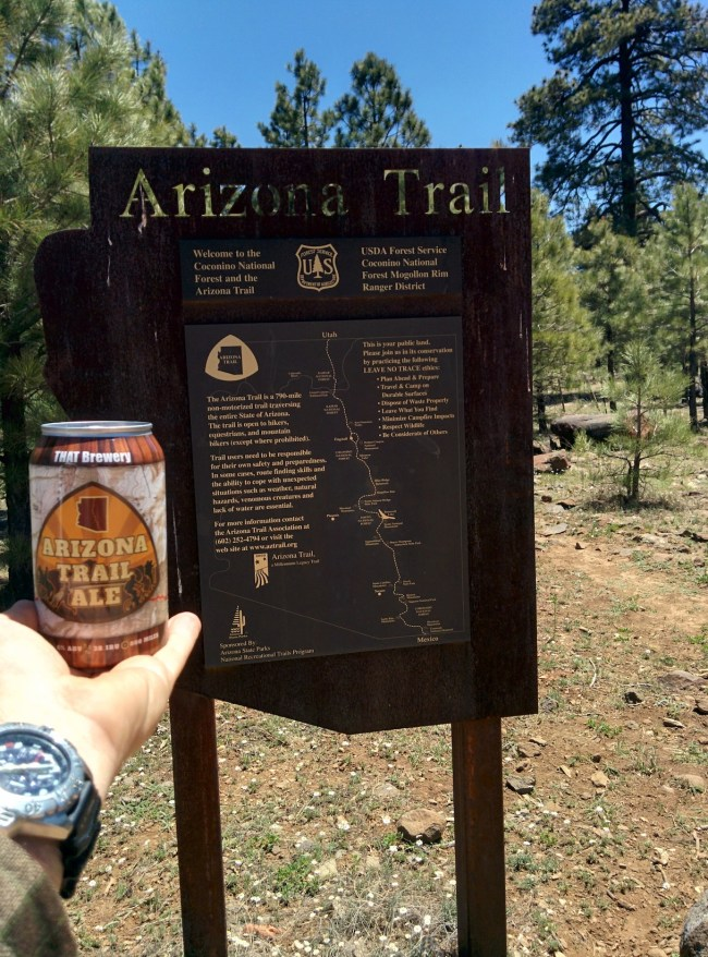 Arizona Trail sign with an Arizona Trail Ale