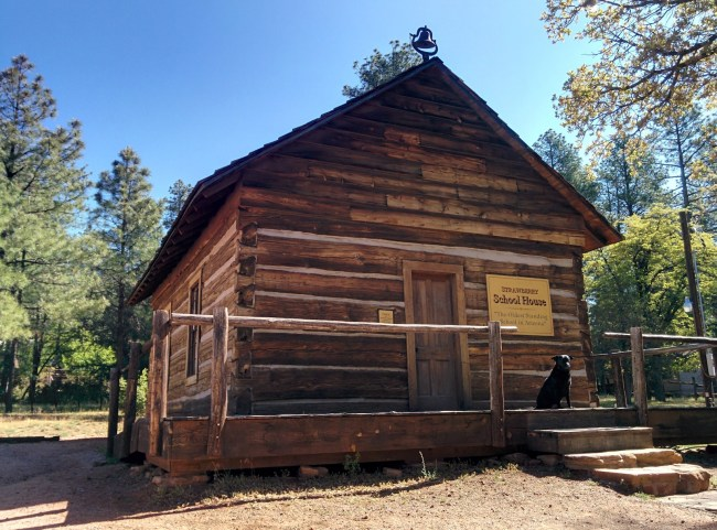 View Of The Front of the Strawberry Schoolhouse From The Driveway
