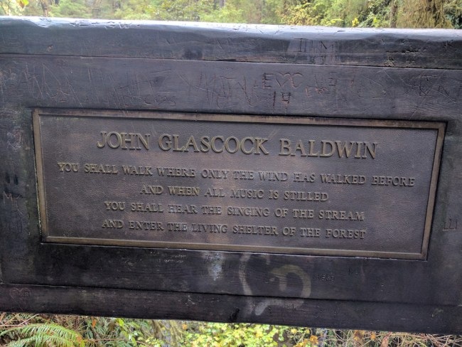 "plaque with tesxt of the John Glascock Baldwin Poem - "" you shall walk where only the wind has walked before and when all the music is stilled you shall hear the singing of the stream and enter the living shelter of the forest."""