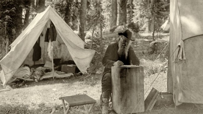 Joaquin Miller Writing During The Crater Lake Excursion