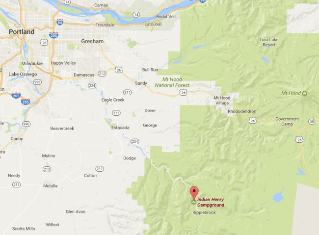 map of the area in Oregon where the campground is in relation to Portland
