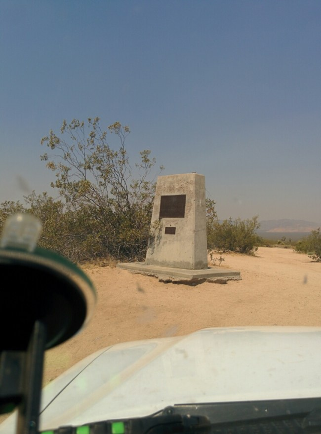 Closer view of the Mojave Road marker
