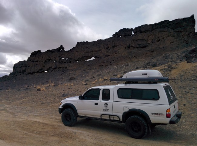 The Tacoma next to One Of Shiprock's Dikes