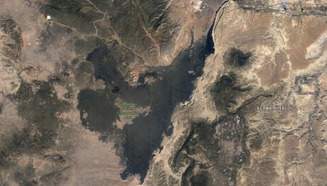 satellite picture of the lava field