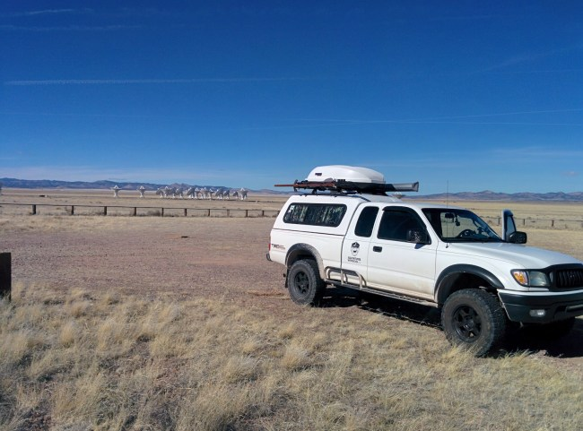 Our Tacoma With The Tightly-Grouped Antennas Behind Us