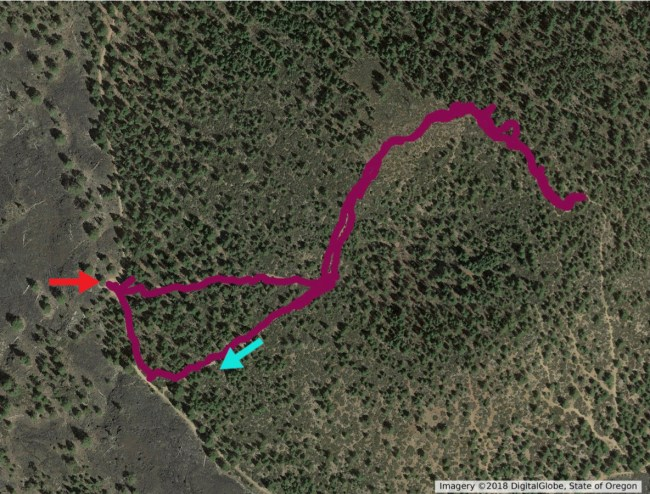 GPS track of our hike overlayed on satellite photo of the caldera