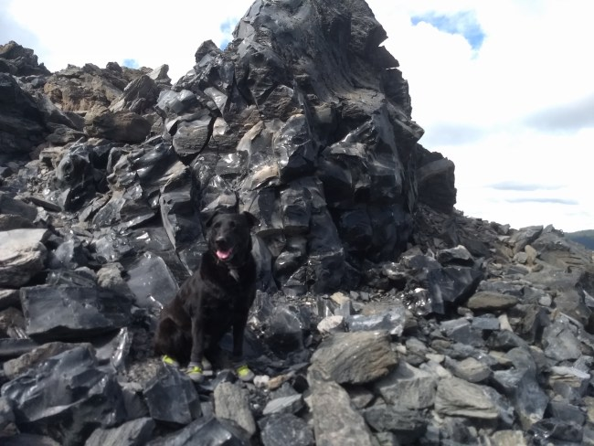 Willow standing in front of a large chunk of Obsidian