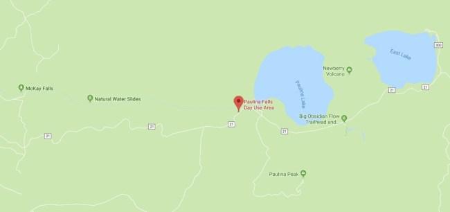Map of Paulina Falls and surrounding areas
