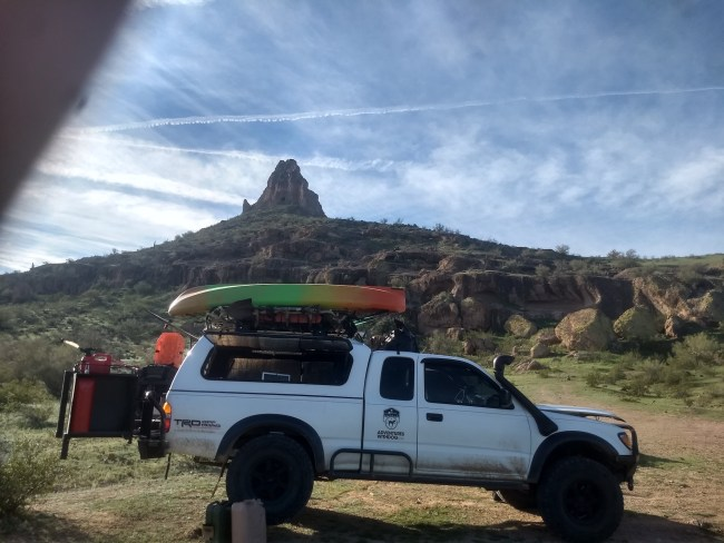 Tacoma parked at base of the mountain