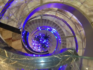 stairs leading down from Oxygen Bar at Ritz Carlton