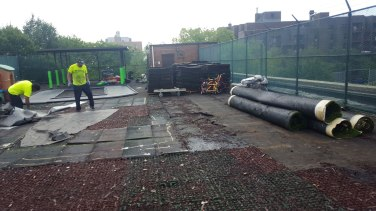Remove Rubber Playround Tiles for Replacement at a Daycare in Brooklyn NY   adventureTURF