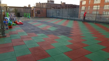 Remove and Replace Rubber Playground Tiles on a Rooftop | Rubber Playground Tiles | Brooklyn NY | adventureTURF