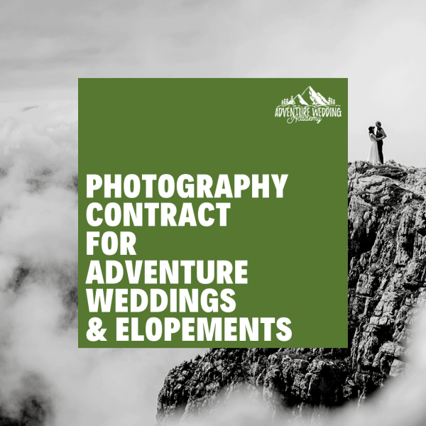 Photography contract for adventure weddings & elopements