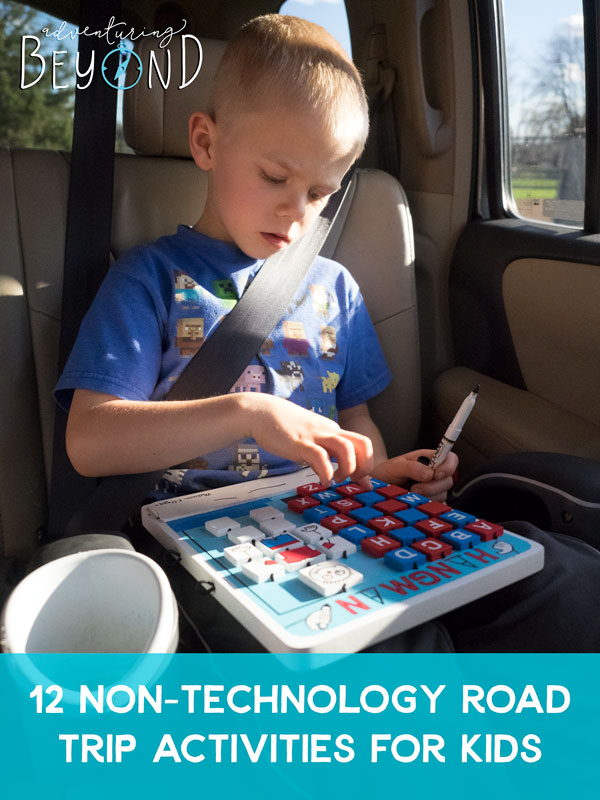 Long road trip ahead? Try these 12 non-technology road trip activities for kids next time you have to spend a lot of time in the car. www.adventuringbeyond.com