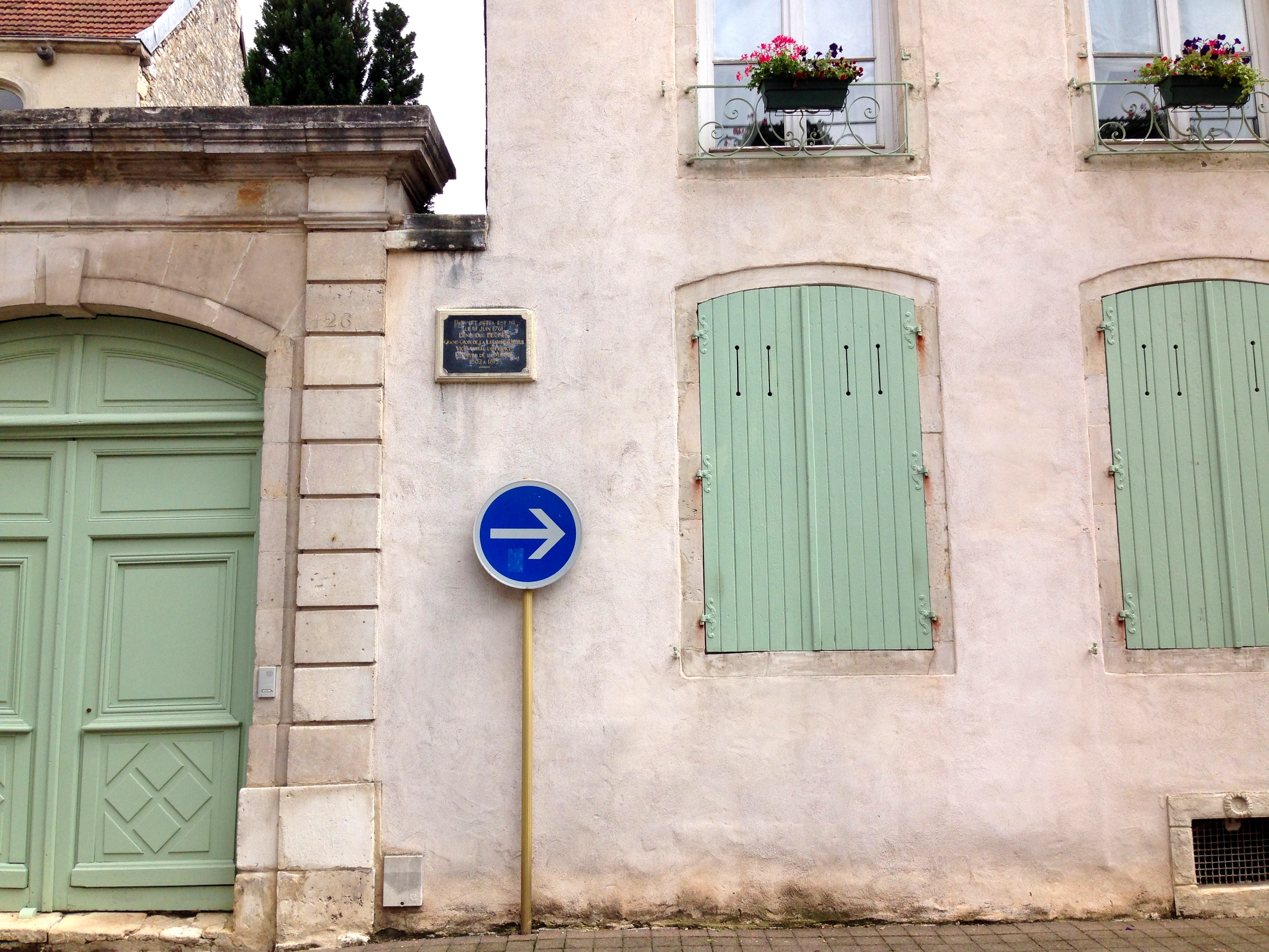 Mint Green Door and Shutters in Chaumont Centre Ville