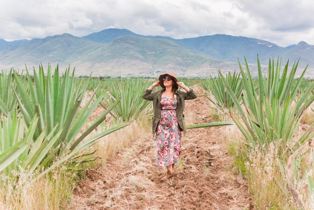 A woman wearing a flowered dress, sunglasses, and wide-brimmed hat posing in the middle of pointy green agave plants, mountains in the background.
